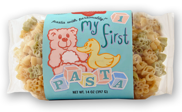 My First Pasta- Sold EXCLUSIVELY ONLINE. This is just what you need for your next baby shower or as a fun dinner for the little ones! Homemade Mac 'n Cheese recipe is included on the back label, or serve with butter and Parmesan Cheese! Cute teddy bear and duck pasta shapes will delight little fingers!  Serves 4-6.