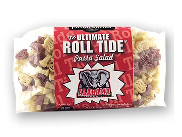Alabama Roll Tide Pasta Salad.  Logo shaped pasta in your team colors with a delicious vinaigrette mix included!  Perfect for tailgate parties, game day celebrations or a gift for a crazy fan!  Serves 6-8.
