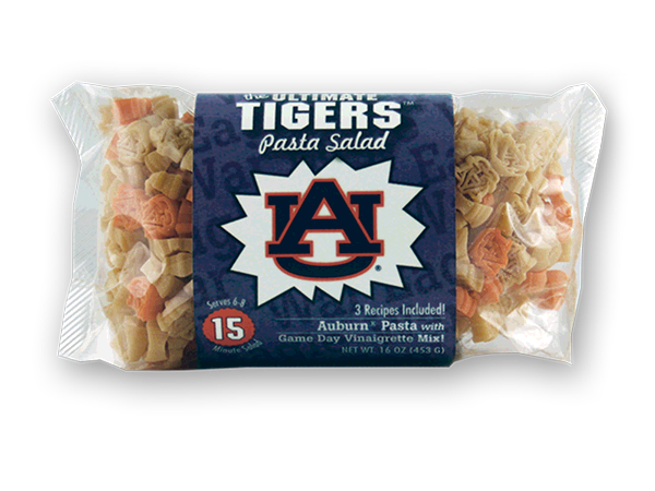 Auburn Tigers Pasta Salad. Logo shaped pasta in your team colors with a delicious vinaigrette mix included!  Perfect for tailgate parties, game day celebrations or a gift for a crazy fan!  Serves 6-8.