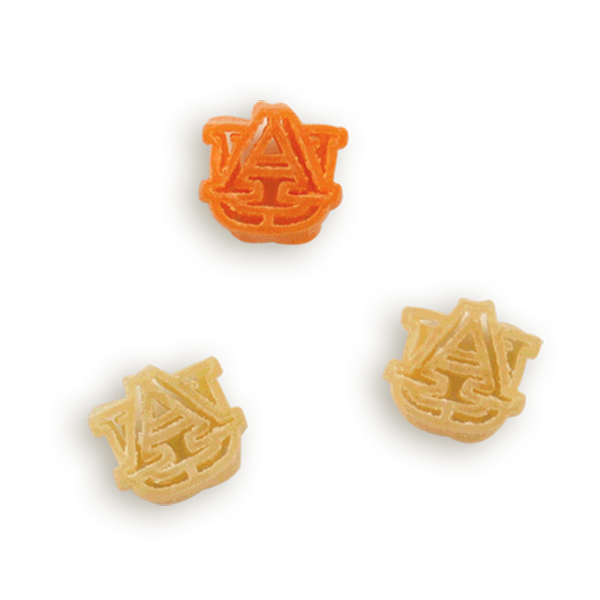 Auburn AU Logo Pasta Shapes. Logo shaped pasta in your team colors with a delicious vinaigrette mix included!  Perfect for tailgate parties, game day celebrations or a gift for a crazy fan!  Serves 6-8.