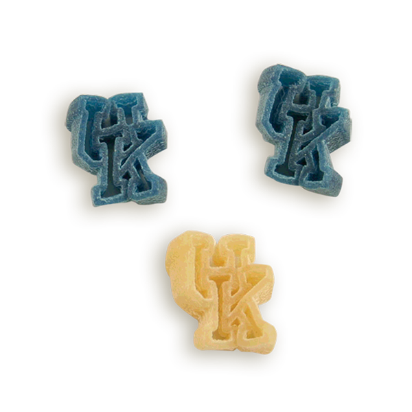 Kentucky UK Logo Pasta Shapes. Logo shaped pasta in your team colors with a delicious vinaigrette mix included!  Perfect for tailgate parties, game day celebrations or a gift for a crazy fan!  Serves 6-8.