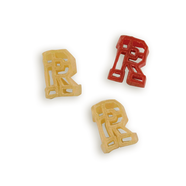 Rutgers Block R Pasta Shapes. Logo shaped pasta in your team colors with a delicious vinaigrette mix included!  Perfect for tailgate parties, game day celebrations or a gift for a crazy fan!  Serves 6-8.