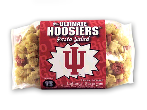 Indiana Hoosiers Pasta Salad. Logo shaped pasta in your team colors with a delicious vinaigrette mix included!  Perfect for tailgate parties, game day celebrations or a gift for a crazy fan!  Serves 6-8.