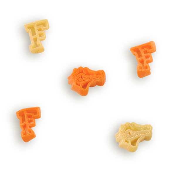 Florida Gator Heads & F Pasta Shapes! Logo shaped pasta in your team colors with a delicious vinaigrette mix included!  Perfect for tailgate parties, game day celebrations or a gift for a crazy fan!  Serves 6-8.