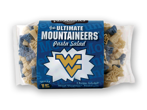 West Virginia Mountaineers Pasta Salad. Logo shaped pasta in your team colors with a delicious vinaigrette mix included!  Perfect for tailgate parties, game day celebrations or a gift for a crazy fan!  Serves 6-8.