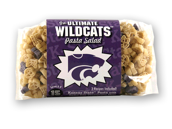 Kansas State Wildcats Pasta Salad. Logo shaped pasta in your team colors with a delicious vinaigrette mix included!  Perfect for tailgate parties, game day celebrations or a gift for a crazy fan!  Serves 6-8.