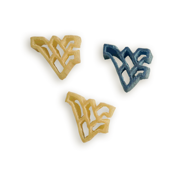 West Virginia WV Logo Pasta Shapes. Logo shaped pasta in your team colors with a delicious vinaigrette mix included!  Perfect for tailgate parties, game day celebrations or a gift for a crazy fan!  Serves 6-8.