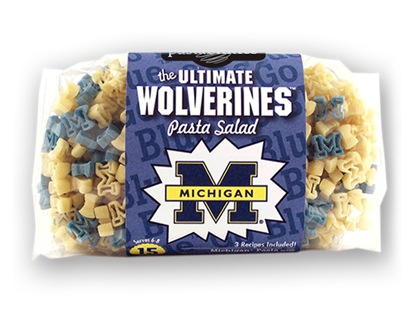 Michigan Wolverines Pasta Salad. Logo shaped pasta in your team colors with a delicious vinaigrette mix included!  Perfect for tailgate parties, game day celebrations or a gift for a crazy fan!  Serves 6-8.