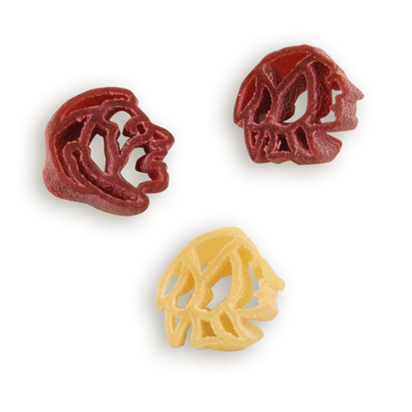 Florida State Seminoles Heads Pasta Shapes! Logo shaped pasta in your team colors with a delicious vinaigrette mix included!  Perfect for tailgate parties, game day celebrations or a gift for a crazy fan!  Serves 6-8.