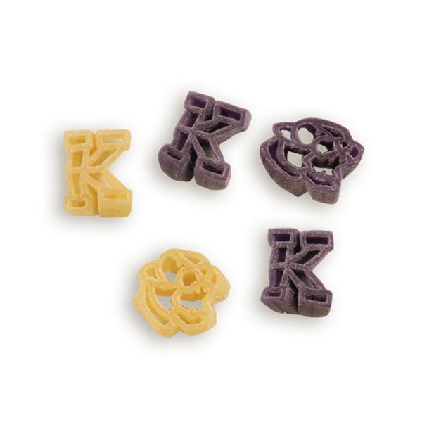 Kansas State Wildcat Face Pasta Shapes. Logo shaped pasta in your team colors with a delicious vinaigrette mix included!  Perfect for tailgate parties, game day celebrations or a gift for a crazy fan!  Serves 6-8.