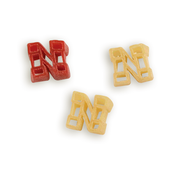 Nebraska Block N Pasta Shapes. Logo shaped pasta in your team colors with a delicious vinaigrette mix included!  Perfect for tailgate parties, game day celebrations or a gift for a crazy fan!  Serves 6-8.