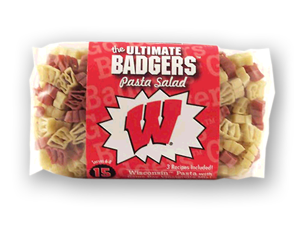 Wisconsin Badgers Pasta Salad. Logo shaped pasta in your team colors with a delicious vinaigrette mix included!  Perfect for tailgate parties, game day celebrations or a gift for a crazy fan!  Serves 6-8.