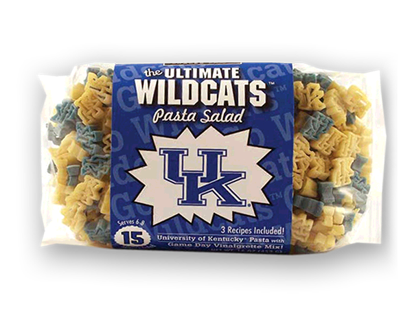 Kentucky Wildcats Pasta Salad. Logo shaped pasta in your team colors with a delicious vinaigrette mix included!  Perfect for tailgate parties, game day celebrations or a gift for a crazy fan!  Serves 6-8.