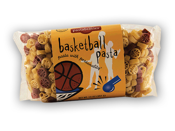 Basketball Pasta- Make dinnertime a slam dunk with pasta Shaped like basketballs and whistles. Basketball pasta is a fan favorite.