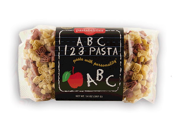 ABC 123 Pasta - Bite sized pasta pieces shaped like ABC123. 2 Recipes included on the label. Makes a great gift for your favorite teacher!