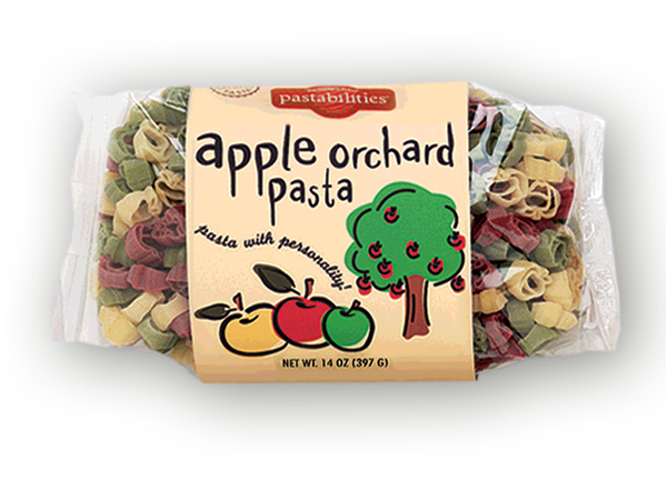 Apple Orchard Pasta- Fall means apple picking and apple cider. Cute apple shaped pasta includes a recipe for a Grilled Chicken & Apple Caesar Salad. Makes a great gift.