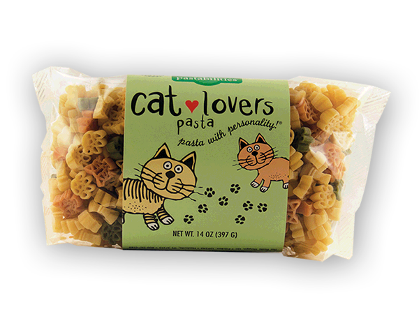 Cat Lovers Pasta - PURRfect for the Cat Lovers! A favorite them for those crazy about their cats. Cat faces and paw print shaped pasta. Serves 6-8. 24 month shelf life.