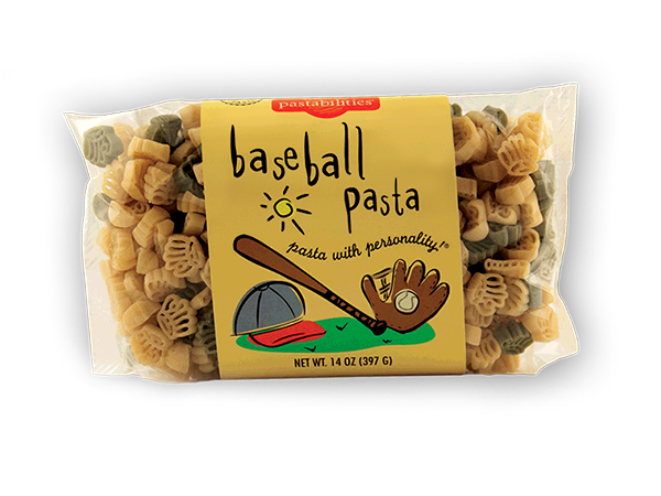 Baseball Pasta- Serve our baseball pasta for dinner and hit a home run every time! Cute baseball gloves, bats and ball pasta shapes. Makes a great gift.