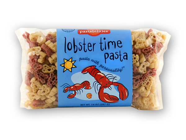 Lobster Time Pasta- You´ve never had Lobster Pasta Salad like this before! Fun lobster shapes can be enjoyed as a meal at lunch, or a side dish to any seafood dinner. Recipe is included. Serves 4-6.
