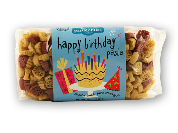 Happy Birthday Pasta - EXCLUSIVELY ONLINE  A delicious way to celebrate every birthday!  Kids of all ages love our pasta - makes a great birthday