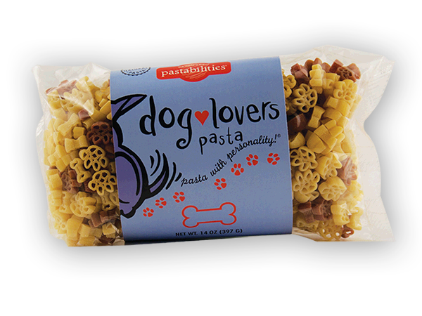 Dog Lovers Pasta- Our Dog Lovers Pasta is Mom's best friend! Add lots of smiles when serving our yummy Taco Pasta Salad to your family – recipe included on label. 14 oz. Bag, Serves 6-8. Dog Bones and Paw Print Pasta Shapes