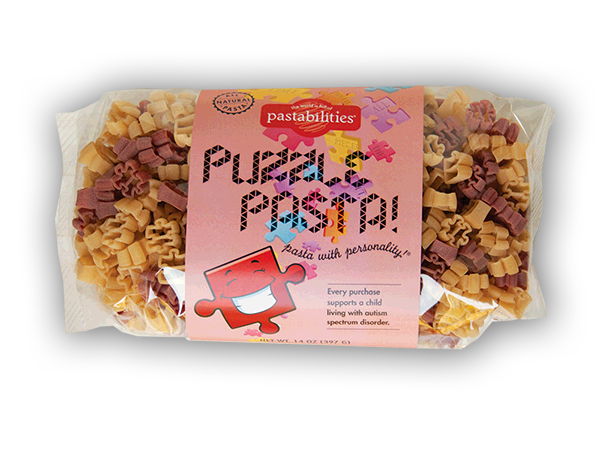 Puzzle Pasta for Autism- Fun puzzle pasta pieces!  A portion of each purchase of Puzzle Pasta helps support kids with autism spectrum disorder. Delicious recipe included.  Note that the colorful label was designed by a student with autism! Serves 4-6.