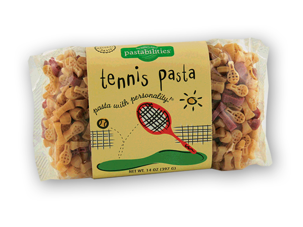Tennis Pasta -  Sold EXCLUSIVELY ONLINE. Serve up! our Tennis Pasta and bring fun to your next event! Our Sesame Pasta recipe is included on the label and is a hit. Serves 4-6. Tennis racket and tennis ball pasta shapes.