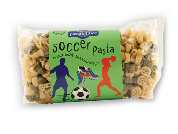 """Soccer Pasta- It's always a World Cup event when our Soccer Pasta is served! Your players will get a """"kick"""" out of it! Enjoy one of our favorite recipes – Bacon Cheeseburger Pasta – included on the label. Serves 4-6."""
