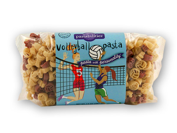 Volleyball Pasta - Get ready for the big game and serve our pasta!  Sure to spike interest at the dinner table. A Light Alfredo sauce recipe is included....enjoy! Serves 4-6.