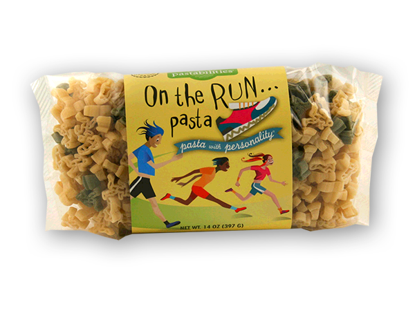 On the Run- Runner's Pasta Carb up before the big race! Perfect gift for the runner in your life. Cute running shoe and runner pasta shapes. A yummy Tuna Pasta Salad recipe is included...now off to the races! Serves 4-6.