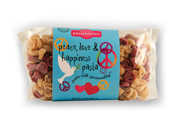 Peace, Love & Happiness Pasta- Share the Love!  Enjoy a fun and festive pasta that is just what you need to add a little happiness to everyday cooking.  A Lemon Shallot Sauce recipe plus more is included on the label. Serves 4-6.