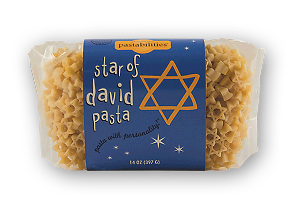 """Star of David Pasta- Celebrate the Jewish Holidays and serve our Star of David Pasta – fun for the entire family! An Asparagus & Cashew Pasta recipe is included on the label.  Serves 4-6. Certified Kosher! The entire line of """"Pasta with Personality"""" (pasta in 14 oz. bags) is certified Kosher.  All products with a seasoning mix included are not certified."""