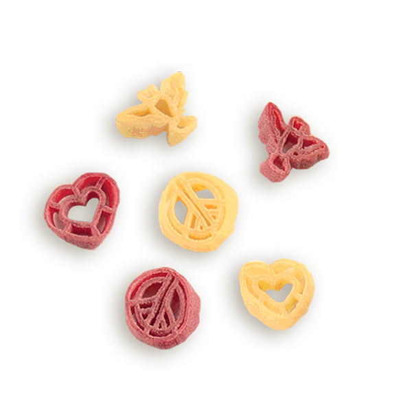 Peace Love & Happiness Pasta- Share the Love!  Enjoy a fun and festive pasta that is just what you need to add a little happiness to everyday cooking.  A Lemon Shallot Sauce recipe plus more is included on the label. Serves 4-6. Peace Signs, Doves & Heart Shaped Pasta