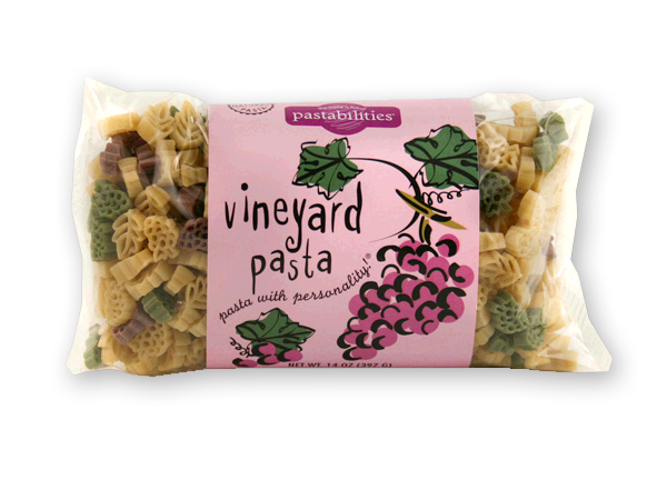 Vineyard Pasta - Sold EXCLUSIVELY ONLINE. Vineyard Pasta makes a beautiful and colorful pasta dish...great for everyday entertaining. Spinach, Asparagus, and Cashew Pasta recipe included, delicious for any occasion (just don't forget some nice red wine!) Serves 4-6.
