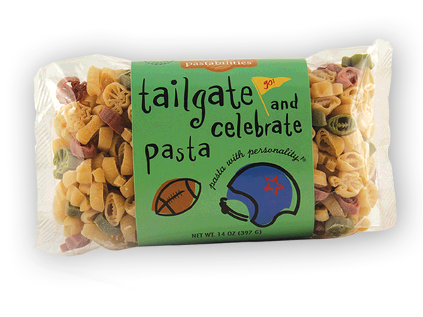 """Tailgate & Celebrate Football Pasta- Are you ready for some Football """"Pasta""""?! Every tailgate or game celebration deserves some team spirit! Have fun with your crowd and serve our winning Taco Pasta Salad recipe that is included. Serves 4-6."""