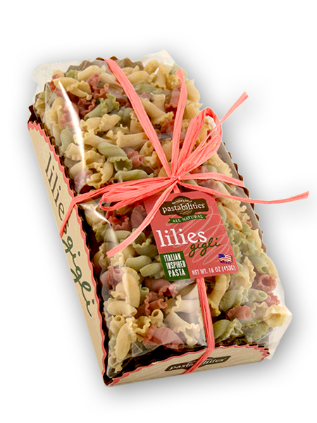 Italian Inspired Lilies Pasta!  Made with 100% durum wheat and all-natural ingredients, our pasta is carefully pressed through bronze dies. It is then dried slowly in special Italian dryers for a long period of time.  The result is a rough and porous texture designed to absorb and hold your sauce. The beautiful twists and turns in these Italian shapes also help! Buon Appetito! Serves 4-6. Shop now to support your group.   funpastafundraising.com