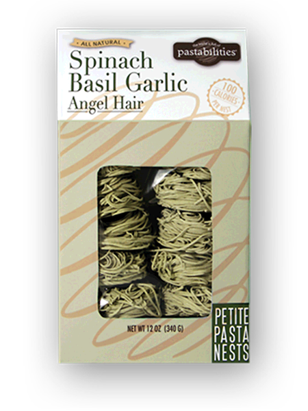 Elegant and Delicious. Our light and fluffy Spinach Basil Garlic Pasta Nests add a gourmet touch and flavor to any meal.  100 calories per nest. 12 nests per bag make portion control simple!  When cooked, pasta will