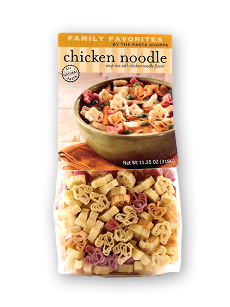 Chicken Noodle Soup - A Best Seller! Homemade tastin´ soup that makes 10 cups and feeds a hungry family fast - ready in 15 minutes! Kids love to see the little chicken shaped noodles! Serves 6-8.