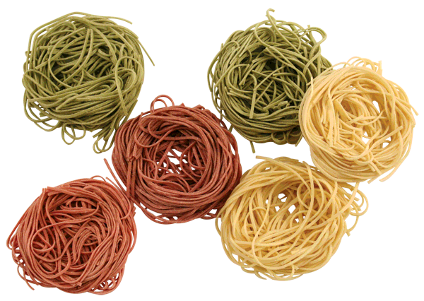 Tri-color Angel Hair Pasta Nests Shapes - Spinach, Tomato, and Semolina (Original) Petite Pasta Nests add glamour and taste to any meal. Our Angel Hair is light & fluffy and beautiful when served with shrimp or seafood. When cooked, pasta will