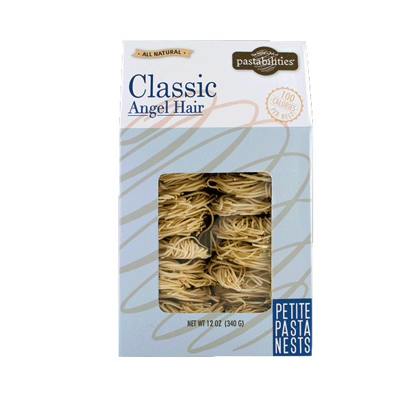 Our favorite angel hair pasta now comes in an everyday pasta flavor!  Wonderful with red or white sauces or even pestos.    Elegant and Delicious. Our light and fluffy Classic Pasta Nests add a gourmet touch to any meal.  100 calories per nest. 12 nests per bag make portion control simple!  When cooked, pasta will